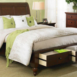 Aspenhome - Cambridge Sleigh Bed with Storage Footboard -