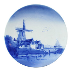 EuroLux Home - Consigned Vintage German Blue Delft Plate Charger - Product Details