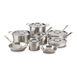 All-Clad - All-Clad d5 Brushed Stainless Steel 14 Piece Cookware Set (BD005714) - The All-Clad d5 Brushed Stainless 14 piece cookware set has a great combination of two fry pans, two saute pans, two sauce pans, and two stock pots. These All-Clad d5 pans look amazing with their attractive brushed stainless finishes. Each pan maintains even heat while you cook with no hot spots thanks to the d5 5-layer construction of steel and aluminum. Made in the USA, this All-Clad d5 brushed stainless set is also guaranteed for life by All-Clad with normal use and proper care!