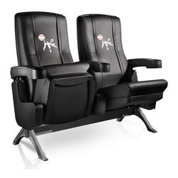 Dreamseat Inc. - Baseball Pitcher Row One VIP Theater Seat - Single - Please note: This item is the single chair, not multiple as shown in the photo. We do not have photos of an individual chair by itself. Check out this fantastic home theater chair. This is the same seat that is in the owner's VIP luxury boxes at the big stadiums. It has a rocker back and padded seat, so it's unbelievably comfortable - once you're in it, you won't want to get up. Features a zip-in-zip-out logo panel embroidered with 70,000 stitches. Converts from a solid color to custom-logo furniture in seconds - perfect for a shared or multi-purpose room. Root for several teams? Simply swap the panels out when the seasons change. This is a true statement piece that is perfect for your Man Cave, Game Room, basement or garage.