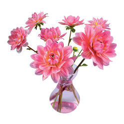 OOTS! - Flat Flowers Originals Dahlia Pink - Wow your guests with this stunning hot pink dahlia bouquet. The intricate design of this double-sided, static decal is amazingly lifelike. Use it again and again in any room. The big decision will be where to place it.