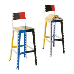 Stitch Stool By Cappellini - Oh how could I resist adding this funky stool? It's colors are downright Mondrian, its style borrows a bit from an Erector Set, and IT FOLDS UP! C'mon admit it, even if you don't like it, you're impressed.