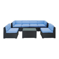 LexMod - Aero Outdoor Wicker Patio 7 Piece Sectional Sofa Set in Espresso with Light Blue - Introduce aerodynamic comfort with the Aero Outdoor Sectional Set. Welcome your friends and family to a motivational setting of exceptional appeal. Aero is a versatile seating environment built for patio, backyard or pool areas in need of something dynamic.