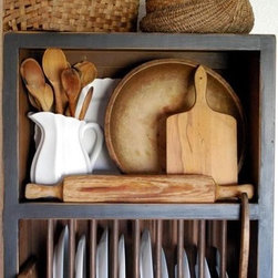 Primitive Country Plate Rack Kitchen Cupboard by Red Rooster Bed and Breakfast - This is such a great option for displaying my kitchen-y treasures. It's even wide enough for baskets on top! I'll take the shelf and all the props, please.