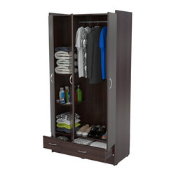 Inval America LLC - Inval Multi-storage Espresso Wenge Armoire - Keep your clothing organized and out of the way with this space-saving Inval multi-storage armoire. Finished in an espresso-wenge color,this spacious armoire features a high-hanging bar,as well as three shelves,two drawers and three drawers.