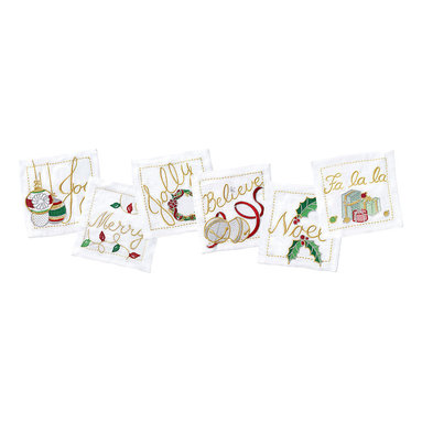 Holiday Tidings Cocktail Napkins - Set of 6 - Elegant enough for a black tie affair, the stunning Holiday Tidings Cocktail Napkins come in a boxed set of six, each with its own embroidered tiding sewn beautifully into the fabric in shades of red, gold and green. Serve up spiked cider and use these to accompany for the perfect attention to detail. These napkins make a gorgeous and thoughtful gift.