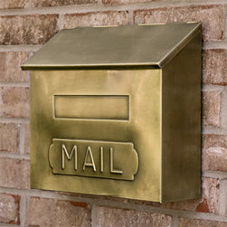"""Horizontal """"MAIL"""" Wall-Mount Brass Mailbox - Antique Brass - Functional and stylish, the Horizontal """"MAIL"""" Wall-Mount Brass Mailbox is a decorative addition to any home. This wall mounted mailbox features a large interior compartment for incoming mail."""