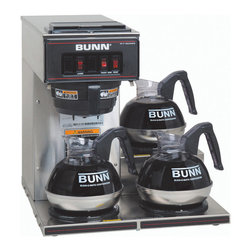 BUNN Products - Pourover Commercial Coffee Brewer w 3 Lower W - Decanters not included. Brews 3.8 gallons of perfect coffee per hour. Portable. No plumbing required for brewer. Splashguard funnel deflects hot liquids away from hand. Quick and easy clean up. Stainless steel construction. Total wattage: 1670 WPourover Commercial Coffee Brewer with Three Lower Warmers perfect for convenience stores, family restaurants, cafes or diners. Totally portable, it can be used anywhere there's a plug! Just pour cold water in the top and coffee brews immediately, up to 3.8 gallons per hour directly into standard 64-ounce decanters.