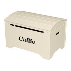 Little Colorado - Little Colorado Solid Wood Toy Storage Chest with Personalization - Linen Finish - Shop for Childrens Toy Boxes and Storage from Hayneedle.com! Give them a storage space that is definitely their own with the Little Colorado Solid Wood Toy Storage Chest with Personalization - Linen White Finish. The face of this chest can be personalized with your child's name in your choice of black blue green pink purple red or white carved text in vinyl letters. The arch top of this chest moves smoothly on durable hardware. Some assembly is required. Dimensions: 29L x 19W x 18H inches. Product weighs 37 lbs. Little Colorado is a Green CompanyAll finishes are water-based low-VOC made by Sherwin Williams and other American manufacturers. Wood raw materials come from environmentally responsible suppliers. MDF used is manufactured by Plum Creek and is certified green CARB-compliant and low-formaldehyde. All packing insulation is 100% post-consumer recycled. All shipping cartons are either 100% post-consumer recycled or are made of recycled cardboard. About Little ColoradoBegun in 1987 Little Colorado Inc. creates solid wood hand-crafted children's furniture. It's a family-owned business that takes pride in building products that are classic stylish and an excellent value. All Little Colorado products are proudly made in the U.S.A. with lead-free paints and materials. With a look that's very expensive but a price that is not Little Colorado products bring quality and affordability to your little one's room.