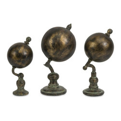 iMax - iMax Watson World Globes - Set of 3 X-3-47147 - With an industrial inspired, faux verdigris finish, this set of three Watson globes, named after Sherlock Holmes most famous assistant, adds a worldly look to any home or office.
