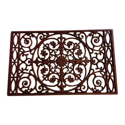 Door Mat - Powder Coated Cast Iron, Slightly Textured Rust - This unique Filigree Cast Iron Doormat is a beautiful piece to accent your entranceway. Made of cast iron and powder coated so it will last through years of use.