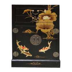 Golden Lotus - Chinese Black Leather Surface Kois & Lotus Motif Night Stand End Table - You are looking at an elegant Chinese black base color koi fishes and lotus flowers motif night stand. As you see in the bottom right picture, inside is decorated with traditional Chinese sayings.