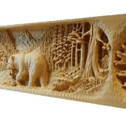 Wood Carved Bear Mantel - This rustic mantel has a center focal bear scene with Oak leaves trailing left and right. It has a satin lacquer clear finish.The ends of the mantel can also be carved and corbels are available upon request.
