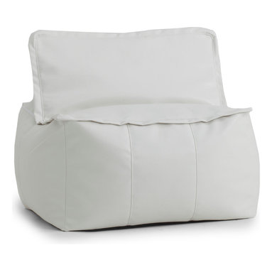 Comfort Research/Big Joe - BIG JOE LUX ZIP IT! SQUARE, White Vegan Leather - At Comfort Research, being called a square is one of the nicest things you can say about someone. That's because it refers to our Zip It! Square, a super comfy, ultra soft, glass half-full kind of chair that can do most anything. It can be a seat, a foot rest or a trustworthy  cushion to lean against if the couch is full. And because it's a member of our Zip It! family, the Square goes the extra yard by unzipping to reveal additional lower back support. So go ahead and call us a square. We'd be honored. Filled with UltimaX Beans that conform to you.  Double stitched and double zippers. Spot clean.  Available in assorted colors and fabrics.