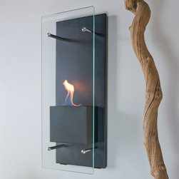 """Bluworld Nu-Flame - Cannello Wall-Mounted Ethanol-Burning Fireplace - """"Cannello"""", Italian for candle, is much more than it's name implies. Cannello is a sleek new ethanol burning wall torch. Perfect by itself, but even better as a pair flanking a doorway or lining a hall, the Cannello is a beautiful way to add luxury and warmth. The colorful flames are accentuated against the classic black frame and the tempered glass windscreen is supported by stainless steel standoffs... beautiful and functional. Easily adjust the flame height or extinguish it completely with the provided dampener tool. This open ultra modern design allows the beauty and colors of the flames to be enjoyed by everyone. Relax and unwind as you watch the fascinating flames. Perfect for any setting. For indoor use only."""