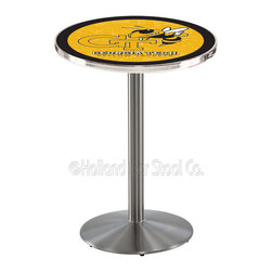 Holland Bar Stool - Holland Bar Stool L214 - Stainless Steel Georgia Tech Pub Table - L214 - Stainless Steel Georgia Tech Pub Table belongs to College Collection by Holland Bar Stool Made for the ultimate sports fan, impress your buddies with this knockout from Holland Bar Stool. This L214 Georgia Tech table with round base provides a commercial quality piece to for your Man Cave. You can't find a higher quality logo table on the market. The plating grade steel used to build the frame ensures it will withstand the abuse of the rowdiest of friends for years to come. The structure is 304 Stainless to ensure a rich, sleek, long lasting finish. If you're finishing your bar or game room, do it right with a table from Holland Bar Stool. Pub Table (1)