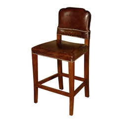 Kathy Kuo Home - Man's Room Cigar Top Grain Leather Counter Stool - Join the club! Upholstered in top-grain cigar leather with gentle distressing, this stool exudes clubroom style. Sidle a few up to your home bar or set them around your kitchen counter to infuse your space with a warm and inviting look.