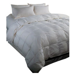 Bed Linens - Royal Hotel 500TC Queen Goose Down Comforter 50ozQueen White - Royal Hotel Collection:This luxurious down comforter will make your bedding far more luxurious and comfortable *Features down-proof cover of 500-thread-count fabric in 100-percent Egyptian cotton * Edged with double silky piping for a clean finish 14-inch baffle box construction * 750 fill power white goose down, softer and lighter than the even the best U.S. down * Dry clean only Thread count is the number of threads per square inch of fabric--the higher the thread count, the softer and more durable the material The quality of down is measured by its fill power--the higher the fill power, the lighter, fluffier, and warmer the down Dimensions and fill weight:* Full/queen: 90 x 90 in., 50 oz. of white goose down.* King: 106 x 90 in., 60 oz. of white goose down
