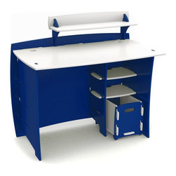 Legare - Legare 43 in. Race Car Kids Desk with File Cart - Blue/White - MPBC-209 - Shop for Childrens Desks from Hayneedle.com! Keep those creative juices rolling with the Legare 43 in. Race Car Kids Desk with File Cart Blue/White. This piece includes a straight desk PDA shelf CPU shelf and letter file cart. Children left- or right-handed can appreciate the customizable configuration. The file cart includes casters for easy in-and-out movement. The desk comes finished in a durable non-toxic double-baked enamel of vibrant blue and white. The modern design brings a touch of style to a bedroom playroom or work room. Assembly is quick and easy in just three minutes you ll have a working desk.About Legare FurnitureBased in Fort Worth Texas Legare Furniture is a design and manufacturing firm that produces contemporary unique and easy-to-assemble furniture for the home and small office. Founded in 1999 the company's designs are an evolution of Legare's original signature modular design continually improved with innovative materials and finishes to enhance the chic style and convenient functionality that marks Legare's furniture as distinct.