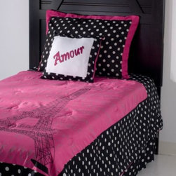 Rizzy Home - Rizzy Home Kids Comforter Set - The Kids Comforter Set from Rizzy Home features an impressive blend of hot pink, black, and white. The ensemble features a design of the Eiffel Tower, emboldening the sense of romance and poeticism for all.