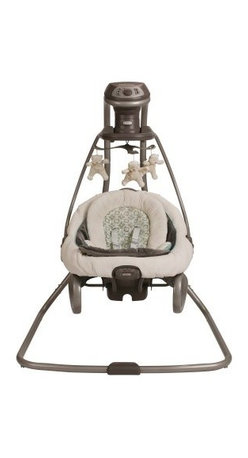 Graco DuetSoothe Swing - Winslet - Whether your baby prefers to sing back-and-forth or side-to-side the Graco DuetSoothe Swing - Winslet is the perfect swing for you. This swing features six different swing speeds 15 songs and sounds and three seating positions so you can assure that your baby is snug and happy. Able to convert to a bouncer you'll also be able to keep your baby by your side throughout the day without having to move an entire swing. The rocker carry-handle makes it easy to move about from room to room. Additional Features Features 3 seating positions Sway side-to-side or swing back-and-forth Rocker carry-handle makes moving around easy About GracoWhen Russell Gray and Robert Cone joined forces in 1942 baby products were not their focus. The pair originally formed Graco Metal Products in Philadelphia Penn. The firm manufactured machine and car parts for local manufacturers for 11 years. Gray left in 1953 leaving Cone as sole owner and Cone got the idea to manufacture baby products from a Graco employee David Saint father of 9. Inspired by the idea of Mrs. Saint soothing her babies on the backyard glider the Graco Swyngomatic was born. The Swyngomatic sold millions catapulting Graco to become a leader in manufacturing juvenile products in the process. Since then Graco has set the industry standard with products like the Pack N' Play and the Travel System. Graco is one of the world's best known and most trusted juvenile products companies. Product safety quality reliability and convenience are their main sources of pride and are recognized by parents and parenting authorities alike.