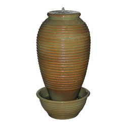 Ceramic Urn Fountains - This antique brown broken vase features illuminated water bubbling from inside the top and spilling down around all sides of the interior vessel. It is made from a durable and lightweight fiberglass resin and LED lighting and pump are included. For indoor use only.