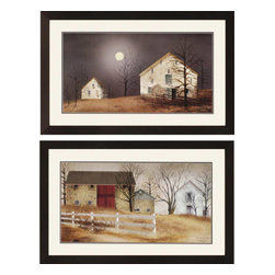 Paragon - Night/Stone Barn PK/2 - Framed Art - Each product is custom made upon order so there might be small variations from the picture displayed. No two pieces are exactly alike.