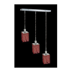 Elegant Lighting - Mini Bordeaux Crystal Pendant w 3 Lights in Chrome (Royal Cut) - Choose Crystal: Royal Cut. 3 ft. Chain/Wire Included. Bulbs not included. Crystal Color: Bordeaux (Red). Chrome finish. Number of Bulbs: 3. Bulb Type: GU10. Bulb Wattage: 55. Max Wattage: 165. Voltage: 110V-125V. Assembly required. Meets UL & ULC Standards: Yes. 14.5 in. D x 8 to 48 in. H (8lbs.)Description of Crystal trim:Royal Cut, a combination of high quality lead free machine cut and machine polished crystals & full-lead machined-cut crystals..SPECTRA Swarovski, this breed of crystal offers maximum optical quality and radiance. Machined cut and polished, a Swarovski technician¢s strict production demands are applied to this lead free, high quality crystal.Strass Swarovski is an exercise in technical perfection, Swarovski ELEMENTS crystal meets all standards of perfection. It is original, flawless and brilliant, possessing lead oxide in excess of 39%. Made in Austria, each facet is perfectly cut and polished by machine to maintain optical purity and consistency. An invisible coating is applied at the end of the process to make the crystal easier to clean. While available in clear it can be specially ordered in a variety of colors.Not all trims are available on all models.