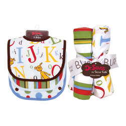 """Trend Lab - Bouquet Set - Dr. Seuss ABC - Bib & Burp Cloth - Keep messes to a minimum with this stylish Dr. Seuss ABC Bib and Burp Cloth Set by Trend Lab. Set includes three bibs and four burp cloths each with fun, modern printed cotton on the front and terry on the back. Bib patterns include: one ABC scatter print of the book's classic characters along with large and small letters in barn red, cornflower blue, mango, avocado and chocolate on a white background with chocolate trim; one variegated stripe print in barn red, avocado, cornflower blue, mango orange and chocolate brown with white trim; and one bold dot print in barn red, avocado, cornflower blue, mango orange and chocolate brown on a white background with cornflower blue trim. Burp cloth patterns include: two with a scatter print of the classic book's Icabod and Peter Pepper characters along with large and small letters in barn red, cornflower blue, mango, avocado and chocolate on a white background; one variegated stripe print in barn red, avocado, cornflower blue, mango orange and chocolate brown; and one bold dot print in barn red, avocado, cornflower blue, mango orange and chocolate brown on a white background. Each bib measures 9"""" x 12"""" with Velcro closure and each burp cloth measures 10"""" x 13"""". Bib and Burp Cloth Set coordinates with the Dr. Seuss ABC collection by Trend Lab. Product sold under license from Dr. Seuss Enterprises, L.P."""