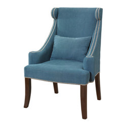 Peacock Contemporary Wingback Accent Chair With Chrome Nailhead - The nailhead trim mixed with the vibrant blue is sure to add a pop of color to any room.