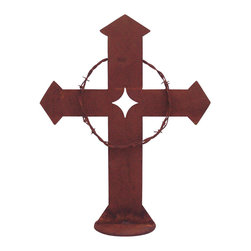 Z Garden Party, INC. - Barbed Wire Garden Cross Small - Our garden cross features a wreath of rusted barbed wire from a ranch in California. It is an original design by California artist Susan Regert. It is hand made in America from heavy rusted steel for years of enjoyment.