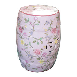 Golden Lotus - Pink Rose Porcelain Round Stool Ottoman - This is a hand painted colorful porcelain stool in a smooth surface pink base color with mixed color rose graphic.