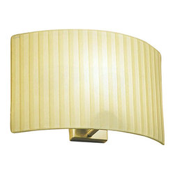 """Bover - Bover Wall Street wall sconce - Products description: The Wall Street wall sconce from Bover was designed by Joana Bover and made in Barcelona, Spain. The Wall Street wall sconce is made for indoor installation by a team of designers that are able to understand, fulfill and be ahead of end-users's trends and needs. Bover's designers aim is to define a commercial line that knows how to balance quality and form and results in a non-temporal style capable to adapt comfortably to future times. This fixture is available in Satin Nickel, Black Iron or Graphite Brown Iron finish with a Parchment, Pleated, Cotton, White Cotton, Cream Translucent Ribboned or White Translucent Ribboned Shade.   Products description: The Wall Street wall sconce from Bover was designed by Joana Bover and made in Barcelona, Spain. The Wall Street wall sconce is made for indoor installation by a team of designers that are able to understand, fulfill and be ahead of end-users's trends and needs. Bover's designers aim is to define a commercial line that knows how to balance quality and form and results in a non-temporal style capable to adapt comfortably to future times. This fixture is available in Satin Nickel, Black Iron or Graphite Brown Iron finish with a Parchment, Pleated, Cotton, White Cotton, Cream Translucent Ribboned or White Translucent Ribboned Shade.                                     Manufacturer:                                      Bover                                                     Designer:                                      Joana Bover - 2000                                                     Made  in:                                     Barcelona, Spain                                                     Dimensions:                                      Small: Height: 6.3"""" (16cm) X Width: 8.2"""" (21cm)             Medium: Height: 7.8"""" (20cm) X Width: 12.6"""" (32cm)             Large: Height: 8.2"""" (22cm) X Width: 17.7"""" (45cm)                                         """