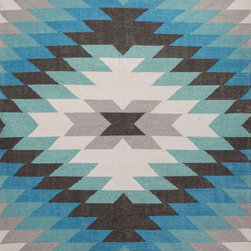 Jaipur Rugs - Tribal Pattern Polyester Blue/Gray Indoor-Outdoor Area Rug ( 8x10 ) - This indoor outdoor flatweave is inspired by the traditional kilims of the desert region, with both warm and bright colors.