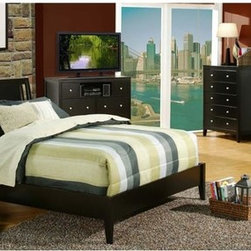 Alpine Furniture - 5 Pc Contemporary Sleigh Bedroom Set (Queen) - Choose Bed: QueenClean lines and a sleek, streamlined design make this contemporary bedroom set a modern way to bring a hint of urban style to your home's decor. Constructed of wood solids and veneers in black with a cherry finish, the set includes a bed in your choice of sizes, a dresser and mirror, a nightstand and a chest of drawers. Includes sleigh bed, two nightstands, dresser and mirror. Nightstand has two drawers. Made from select solids and veneer. Media Chest and Chest not included. Warranty: Six months on manufacturer's defects only. Bed: 44 in. H. Nightstand: 24 in. W x 19 in. D x 24 in. H. Dresser: 66 in. W x 19.5 in. D x 34 in. H. Mirror: 38 in. W x 40 in. H