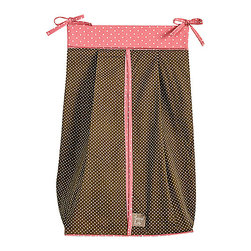 Trend Lab - COCOA CORAL - DIAPER STACKER - The COCOA CORAL - DIAPER STACKER features a taupe with white mini dot print with a coral pink with white mini dot print across the top and trim. Ties allow for easy attachment to most dressers and changing tables. Measures 12 in x 8 in 20.25 in and holds up to three dozen diapers.