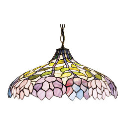 """Meyda Tiffany - 20""""W Wisteria Pendant - Stylized wisteria flower clusters of China Pink, Grape and Amethyst Blue with Jade Green leaves drape over this Ivory toned graceful copper foil pendant shade. The classic styling of this Tiffany style stained glass fixture and soft pastel colors will add charm to any room."""