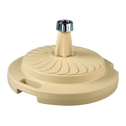 """Patio Living Concepts - Beige Commercial Quality Umbrella Stand - The PLC commercial quality umbrella stands are individually boxed, unweighted, and available in five colors. Fully weighted with sand, these stands offer up to 95 lbs. of heavy holding force for any size umbrella. Chrome finished cap will accommodate umbrella poles from 1 """" diameter to 2"""" diameter. Each stand features a locking screw-on cap to hold the sand weight inside its durable molded resin body. This feature enables dealers or consumers to purchase sand for weighting at their local home stores and easily fill the stand with sand themselves to reduce shipping costs. Completely rust proof construction, will not leave rust marks on your patio or deck. (Sand not included) 22"""" dia X 12"""" ht."""