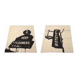 Clean Marquee Dish Towels - Set of 2 - This inseparable pair of dish towels is stylish and perfect for cleaning up messes and spills. Made from 100% cotton, each towel�s design was inspired by vintage marquee signs.