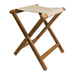 Teakworks4u - Teak Framed Folding Camp Stool with Khaki Canvas Seat - This teak framed folding camp stool is perfect for camping, the beach, the patio or anywhere you need a little extra seating.