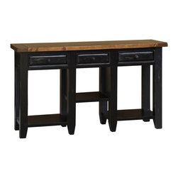 Hillsdale Furniture - Hillsdale Tuscan Retreat 3-Drawer Hall Table in Black/Oxford - Tuscan Retreat TM accent pieces are authentic artisan interpretations of old world and cottage furniture. Each piece is crafted from new and restored timbers to give it the appearance of a century old treasure. The finished are hand prepared from the sanding and scrapping to the final steps. Featuring solid wood throughout and old world cabinet construction. Every detail is designed to bring you years of enjoyment.