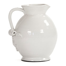 Kathy Kuo Home - Tuscan White Ceramic Large Pitcher - It's the smaller, detailed touches in your home that can truly highlight your great taste.  Picture this Tuscan ceramic pitcher serving up lemonade (okay, margaritas) to your thirsty friends on the weekend, paired with a reclaimed wooden serving tray. The simple luxury of these real, earthy materials will shine and reflect its complimentary glow on you.