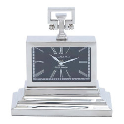 Nickel Plated Table Clock with Three Tiered Base - If you are looking for something modern and distinctive in design, then this Metal Nickel Plated Table Clock makes a great choice of accessory for any setting. Featuring a unique style, this clock can add an interesting look to decor while also offering practical use. The chic looking clock sports a squared shape and includes a three tiered base that adds a more attractive touch to the overall design. Accenting in appearance and giving it a more stunning appeal is a dark shaded face that features white Roman numerals, and add sophistication to the design. This sturdy clock also includes nickel plating, which complements the design and makes it versatile for blending in with all decors. It is made from quality metal to ensure a sturdy and long lasting performance.. It comes with following dimensions