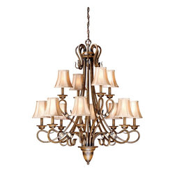 Vaxcel - Vaxcel BE-CHS012AW Chandelier - Aged Walnut - Bulb Base: Candelabra (E12). Bulb Wattage: 60. Bulb Count: 12. Bulbs Not Included