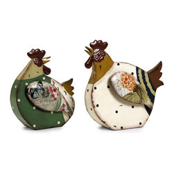 iMax - Rosalea Roosters, Set of 2 - These colorful roosters brighten up any space with whimsical charm. Set of 2.