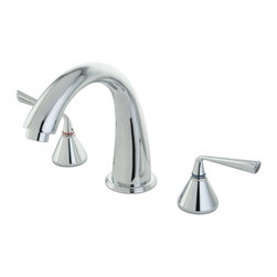 """Kingston Brass - Kingston Brass Polished Chrome Roman Two Handle Roman Tub Filler KS2361ZL - Solid brass construction for durability and reliability, Premium color finish resists tarnishing and corrosion, 13.0 GPM at 60 PSI, 7-1/8"""" spout reach, 8-7/16"""" spout height, 5-1/4"""" spout clearance, 3/4""""-14NPS, 1/4 turn ceramic disc cartridge, 8""""-16"""" widespread installation, Ten year limited warranty.. Manufacturer: Kingston Brass. Model: KS2361ZL. UPC: 663370073168. Product Name: Two Handle Roman Tub Filler. Collection / Series: Roman. Finish: Polished Chrome. Theme: Contemporary / Modern. Material: Brass. Type: Faucet. Features: Drip-free ceramic cartridge"""
