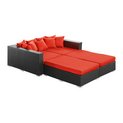 LexMod - Palisades 4 Piece Outdoor Patio Daybed in Espresso Red - Rejoice in the splendor of a completely formed outdoor bedding environment. View from afar as you silently take in the sights and sounds around you for proper effect. Make your initial movements toward transformation with this splendid flowing piece of absolution and resolve.