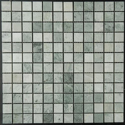 "Ming Green Marble Polished Mosaic Tiles - Gorgeous Ming Green Marble Polished Mosaic tiles on a 12"" x 12"" mesh. The size of the small pieces is 1 in. x 1 in.. Each tile is approximately one square foot. The price is per sheet. We also carry onyx mosaics in Gold, Red and Green Onyx in color."