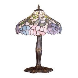 Meyda Tiffany - Meyda Tiffany Lamps Table Lamp in Copperfoil - Shown in picture: Wisteria Accent Lamp; Stylized Wisteria Flower Clusters Of China Pink - Grape And Amethyst Blue With Jade Green Leaves Drape Over This Ivory Toned Graceful Copper Foil Accent Lamp Shade. The Classic Styling Of This Tiffany Style Stained Glass Fixture And Soft Pastel Colors Will Add Charm To Any Room.