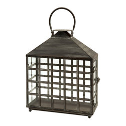 iMax - Drake Wide Candle Lantern - Oriental style wide candle lantern with straight lines creating small window panes topped with a handle. Holds two pillar candles.